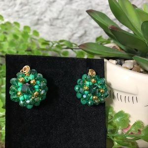 HANDMADE JEWELRY Green And Gold Crystal Earring